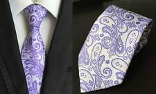Lilac and Silver Paisley Patterned Handmade 100% Silk Tie
