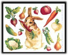 Vintage John Grossman Gifted Line Victorian Garden Bunnies Carrot Onion Stickers