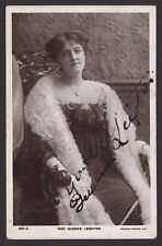 Actress Miss Queenie Leighton in Fluffy Scarf. Autographed Real Photo Postcard