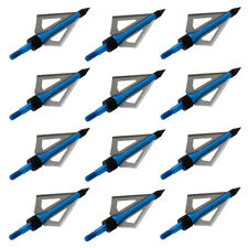 12pcs 100gr Archery 3 blade Broad Heads Blue Arrowhead for Crossbow Compound