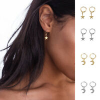 Women Dangle Star Cross Small Huggie Hoop Earrings Ear Piercing Earring BN