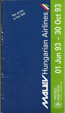 Malev Hungarian Airlines system timetable 6/1/93 [0011]