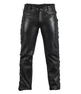 Pantalon en Cuir véritable avec lacets sur les cotés ( bikers gothique punk )