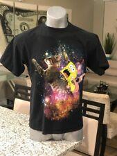 Spongebob Squarepants and Patrick Riding a Cat Galaxy T-Shirt Nickelodeon