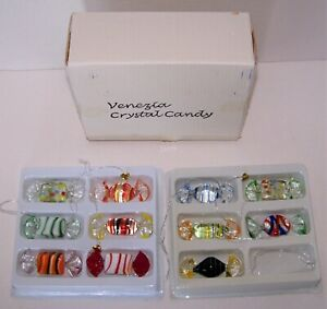 Venezia Crystal Candy 11 Pc Set Blown Glass Wrapped Candy Ornaments