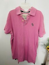 Abercrombie & Fitch M Polo Pink Muscle Short Sleeve Cotton Shirt Vintage Logo