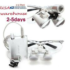 Dental Surgical Medical Binocular Loupes 3.5x420mm+LED Head Light Lamp USA SHIP