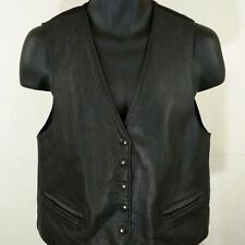 First Issue Leather Vest Vtg 5 Snap Zipper Pockets Motorcycle Biker Womens Sz M