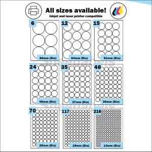Round Self Adhesive circular A4 Laser or Inkjet printer labels. Circle Stickers