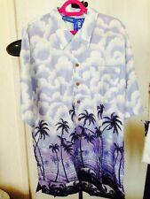 X3 Hawaiian Shirt - Handmade vintage palm and clouds beach holiday stag Medium