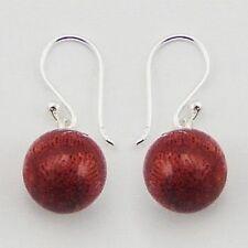 Genuine 925 Sterling Silver Hook Earrings 9mm Red Sponge Coral Beads 24mm Drop