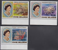 PP34 - COOK ISLANDS STAMP 1987 QEII CORALS HIGH VALUES OVPTS SG1122-1123 MNH