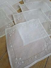 Pretty Set 9 Antique Silk Organza Mats Doilies- Hand Embroidered Flowers