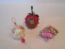 Vintage Lot Handmade Xmas Ornaments Sequin Bead Jeweled Satin Over Foam Shapes