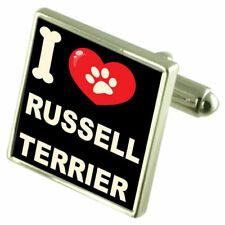 I Love My Dog Silver-Tone Cufflinks Russell Terrier