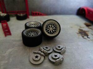 1/24 scale BBS wheels 25mm diameter unpainted