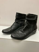 MEPHISTO AIR-JET SEDDY Black Leather Side Zip Wedge Ankle Boots Shoe 10
