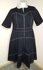Black White XL XXL Zip Front Dress Short Sleeve Cotton Midi Retro Sweetheart
