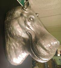 Argent Grande hippo hippopotame tête buste Wall Art Sculpture rétro vintage NEUF