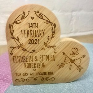 Personalised Wedding Day Anniversary Engagement Date Gifts Couple Him Her Heart