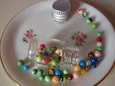 OOAK Dollhouse Miniature Bottle Jar of Tiny Marbles 1:12 Toy Game Artist Made