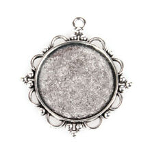 10PCS Alloy Pendant Cabochon Settings Flat Round Antique Silver Tray 30mm (55AS)