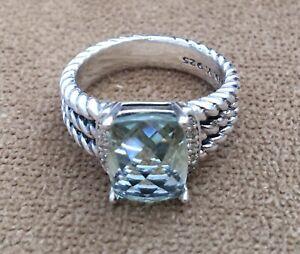 GENUINE ✔️D YURMAN✔️ PREMIUM STERLING SILVER BLUE TOPAZ & DIAMONDS SIZE 6 RING