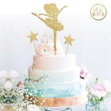 Ballerina cake topper, girls birthday, gold glitter cake topper, ballerina party