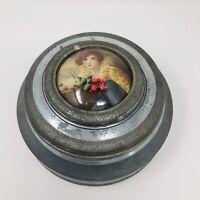 Vintage Aluminum Music Trinket Jewelry Powder Puff Box Wood Bottom & Feet Works!