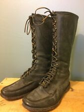Vtg Russell Moccasin Hunting Boots Black Leather Tall Shooting Mens Lace Ranger