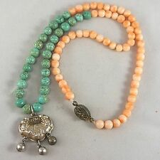 Vintage Chinese Angel Skin Coral Turquoise Bead Silver Lock Pendant Necklace 21""