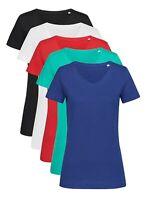 Ladies Womens Plain Slub Cotton Short Sleeve Vee V Neck Tee T-Shirt Tshirt