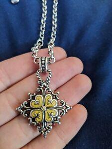Brighton Ice Diamond Yellow Enamel 4 Leaf Clover Pendant Silver Chain Necklace