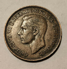 1945 Uk Great Britain British One 1 Penny King George Vi Coin Km 845 Vf+ 7d