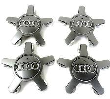 4pcs 135mm Car Wheel Center Caps for Audi A3 A4 A5 A6 A7 A8 Q5 S4 - Grey/Silver