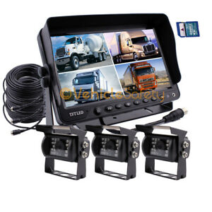 """9"""" Quad Monitor With DVR 3x 4Pin Backup CCD Camera Safety System For Truck RV"""