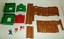 Lincoln Logs regular size Frontier Fort items 64 logs gate figures flag roofs