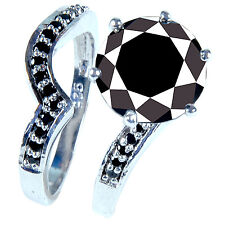 .925 Silver Ring Set see video 5.55 ct Aaa Black Round Cut Solitaire