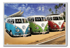 VW Campers On The Beach Poster Silver Framed Ready To Hang Frame Free P&P