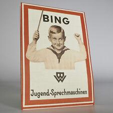 BING Prospekt 1928 Jugend- Sprechmaschinen, Grammophone, Schallplatten - Reprint