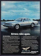 "1977 Buick Riviera Coupe photo ""Riviera Rides Again"" vintage print ad"