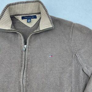 tommy hilfiger mens Vintage Full Zip Small Cardigan Brown