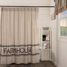SAWYER MILL CHARCOAL FARMHOUSE Shower Curtain Country Grain Sack Stripe VHC