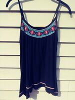 Women's Mossimo Black Flowy Cami Tank-Top, Small ~ Embroidered