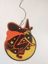 Vintage Halloween Witch Wall Hanging Decoration Witch on Broom Made in Usa