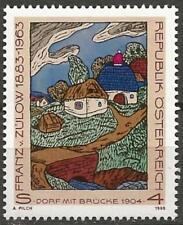 """Austria 1988 MNH - Art - Artist Franz von Zulow """"Village with Bridge"""""""