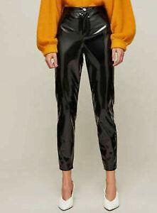 Women Ladies Miss Selfridge Steffi black vinyl trouser