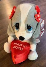 Sad Sam & Honey Gray Basset Hound Plush Dog Hugs N' Kisses Heart Valentine Box
