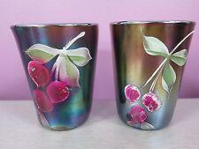 Fenton Cherry Blossoms Blue Carnival Glass 2 Tumblers Antique