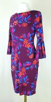 Calvin Klein Purple Floral Bell-Sleeve Shift Dress Size 2, 4 (Retail $99) NWT